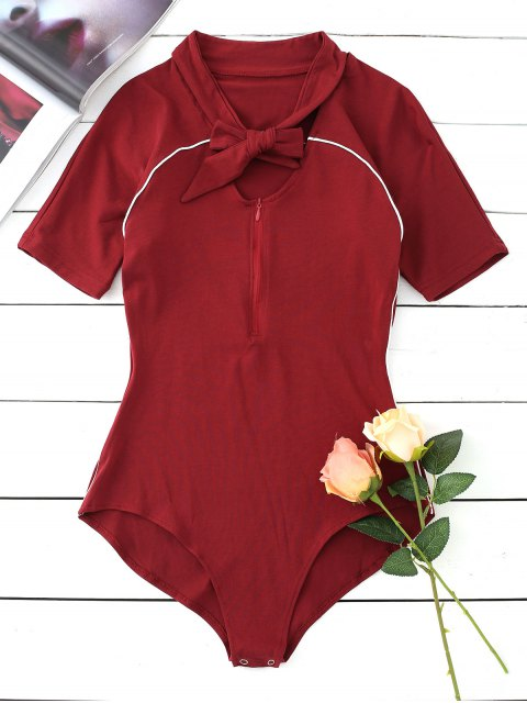 outfits Contrast Half Zip Bow Tied Bodysuit - WINE RED S Mobile