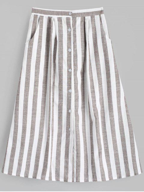 online High Waist Button Up Striped Skirt - STRIPE XL Mobile