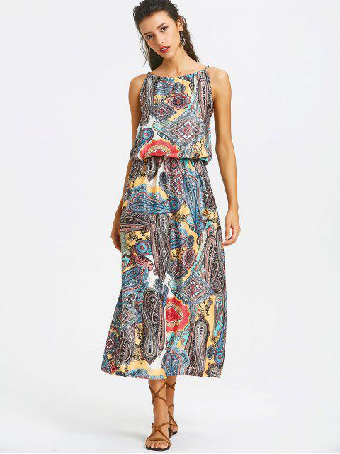 Robe Maxi Imprimée à Taille Élastique - Multicolore L Mobile