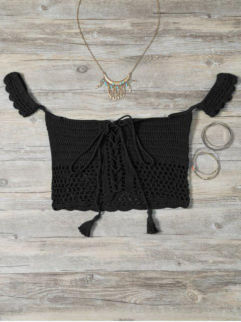 affordable Knitted Off The Shoulder Bikini Bra - BLACK ONE SIZE Mobile