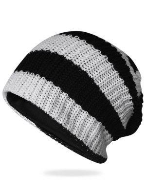Patrón rayado decorado Crochet tejido espesar gorro