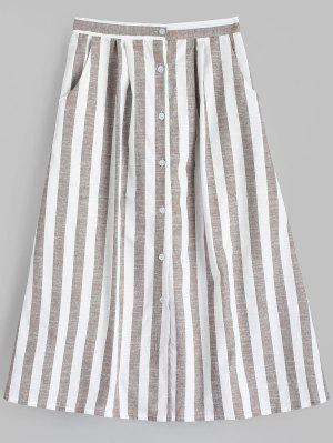Falda a rayas con botones en la cintura alta