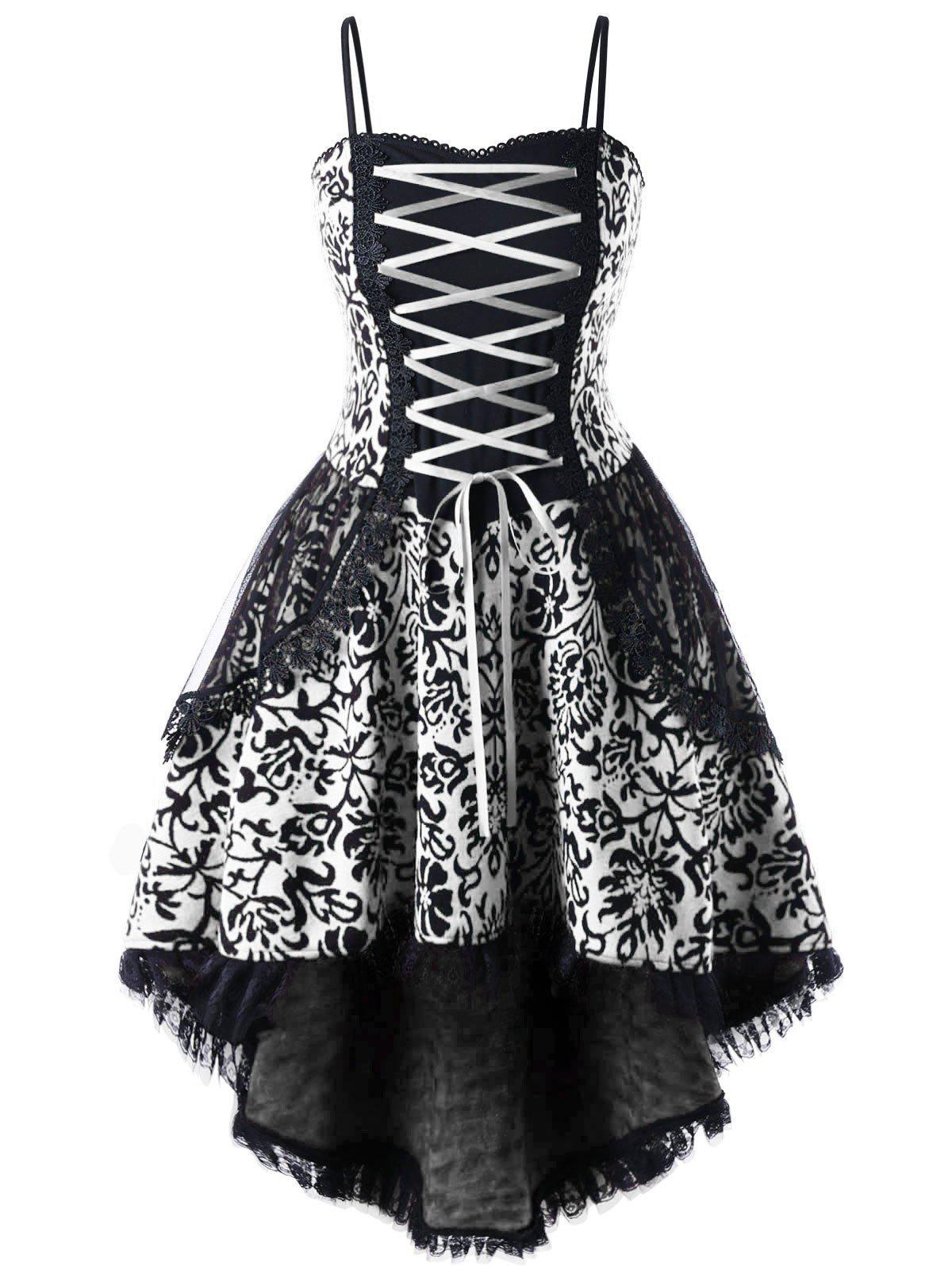 Plus Size Lace Up Dip Hem Corset Dress