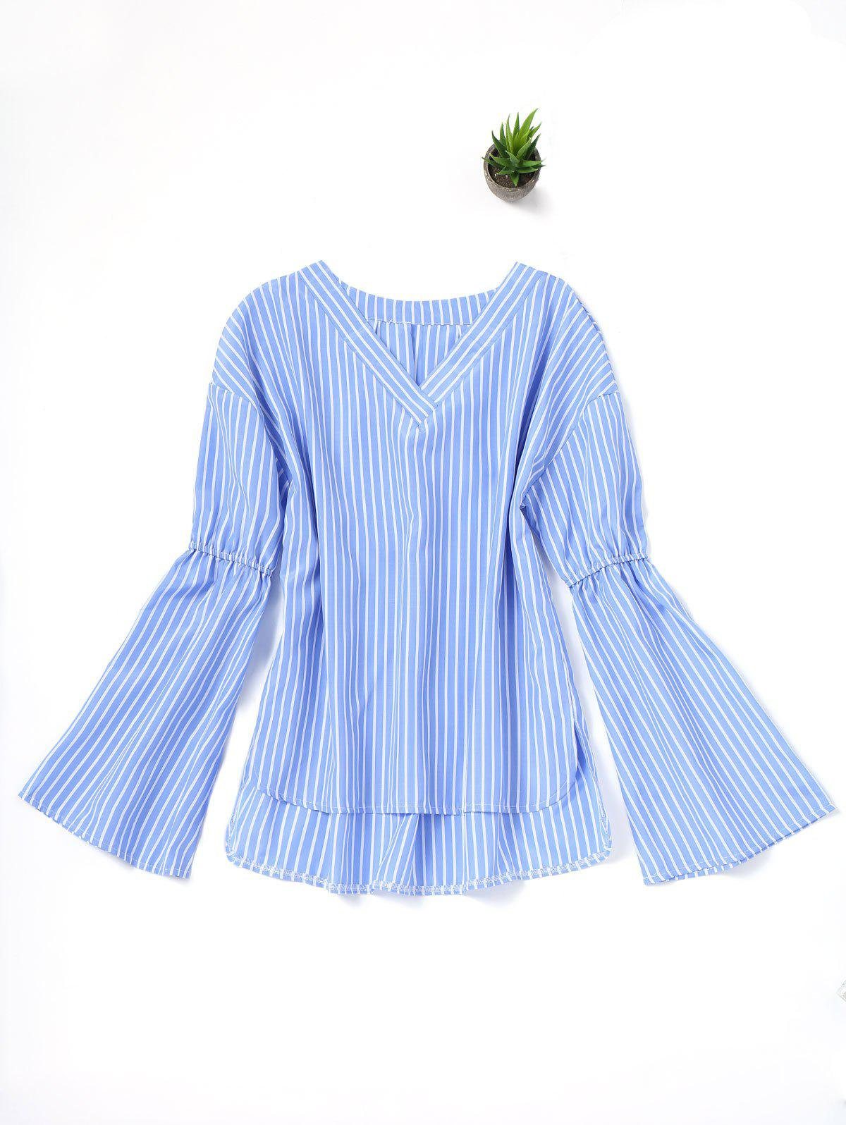V-Ausschnitt Stripes High Low Bluse