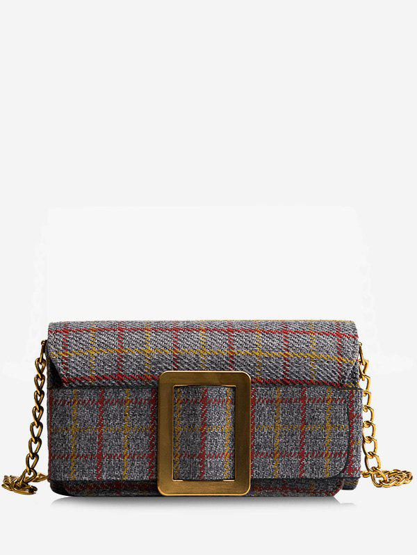 Plaid Buckle Strap Chain Crossbody Bag