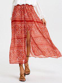 تنورة ماكسي شاطئ طباعة عالية الانقسام  - أحمر