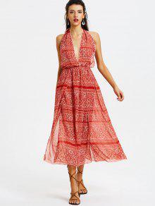 فستان ماكسي مفتوحة الظهر طباعة  - أحمر L