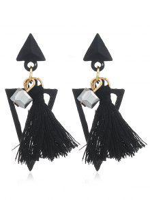 Doppeltes Dreieck Verziert Fransen Ohrringe - Schwarz