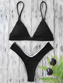Tief Gepolsterter Strukturierter High Cut Bikini Set - Schwarz S