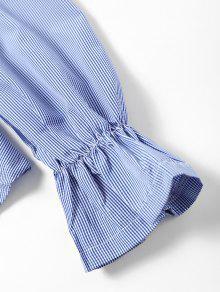 Fuera Cuadros De Azul Hombros Blusa De De La L zwAfzS