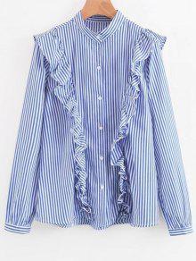 Camisa Com Lã Com Alfinetes Com Botões - Listras L