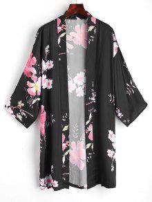 Blusa De Quimono De Frente Aberto Floral - Preto