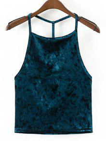 Riemchen Samt Open Back Tank Top - Cadetblue M