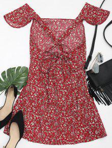 Rojo Criss Vestido Cross Floral Xl Cuadrado Oscuro De Con Estampado wa0wgv