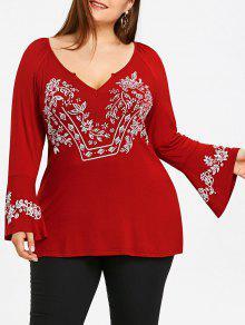 T-shirt De Luva De Sino Com Tamanho Grande V Neck - Vinho Vermelho Xl