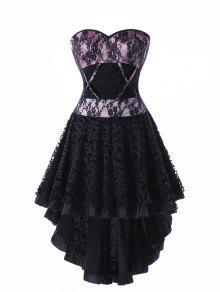 الدانتيل يصل ارتفاع منخفض تنحنح فستان مشد - أسود L
