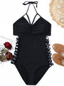 الرسن سترابي زائد حجم ملابس السباحة - أسود 3xl