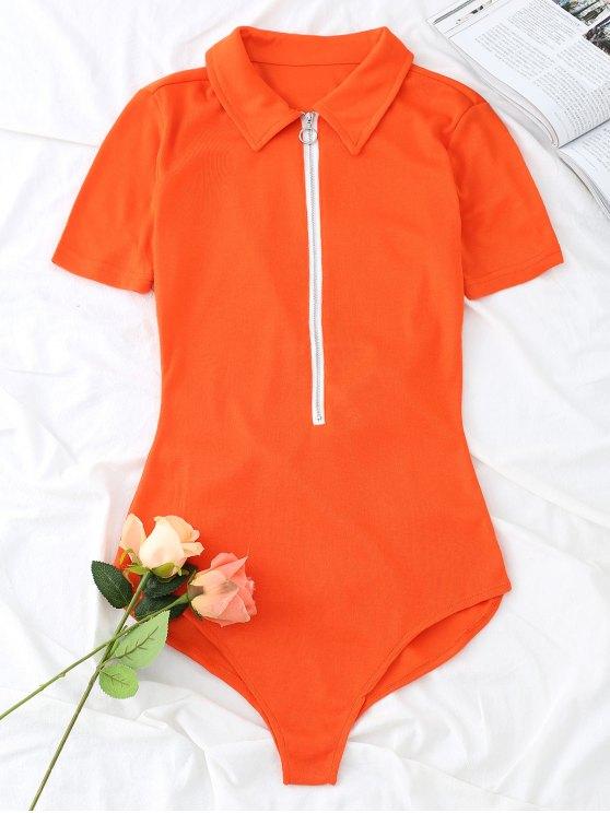 Gestrickter Kurzarm-Body mit kurzem Reißverschluss - Orangerot S