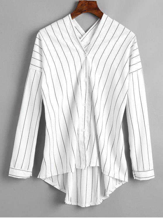 shop Striped V Neck High Low Blouse - WHITE M