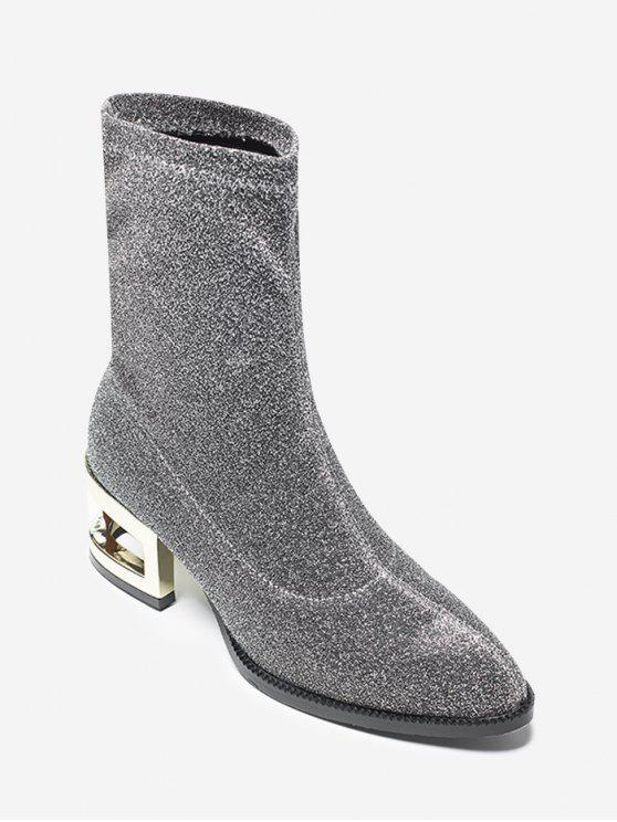 best Sequined Cloth Mid-Calf Boots - SILVER 37
