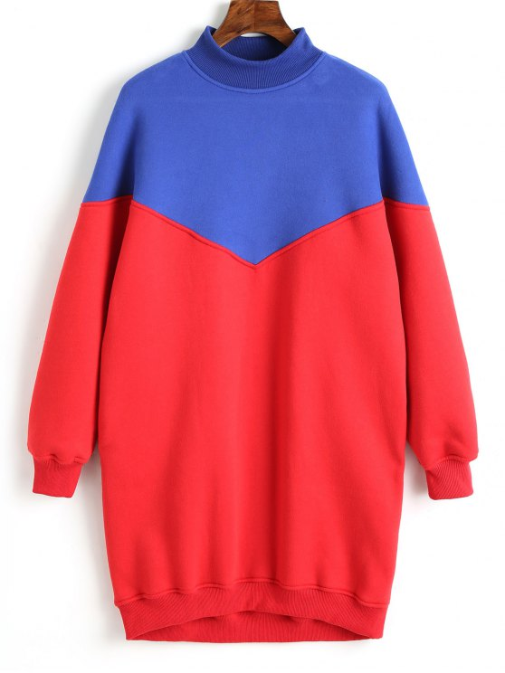 women Longline Two Tone Sweatshirt - RED L