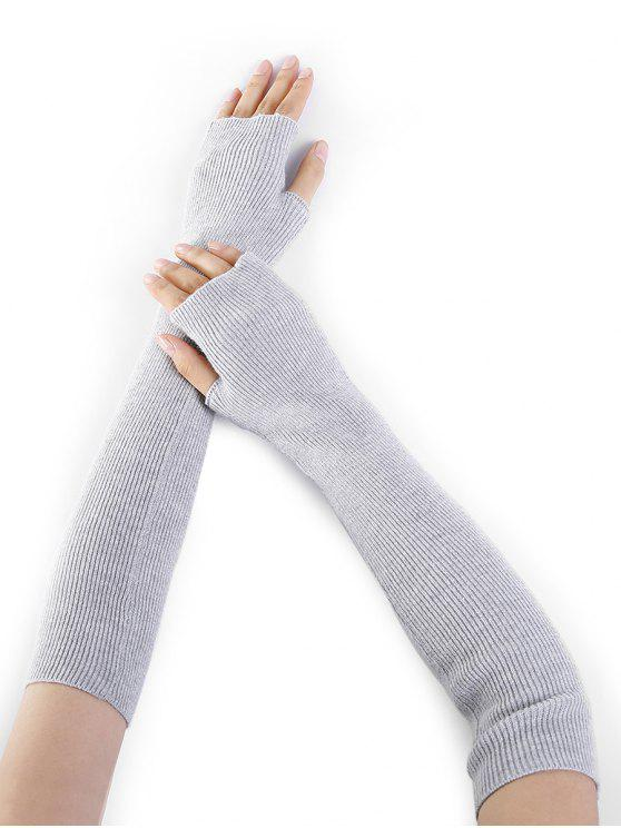 hot Simple Striped Pattern Knitted Fingerless Arm Warmers - LIGHT GRAY