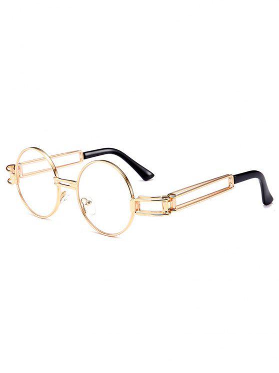 Occhiali Da Sole Tondi Abbelliti Con Montatura In Metallo E Scavatura - Trasparente bianco