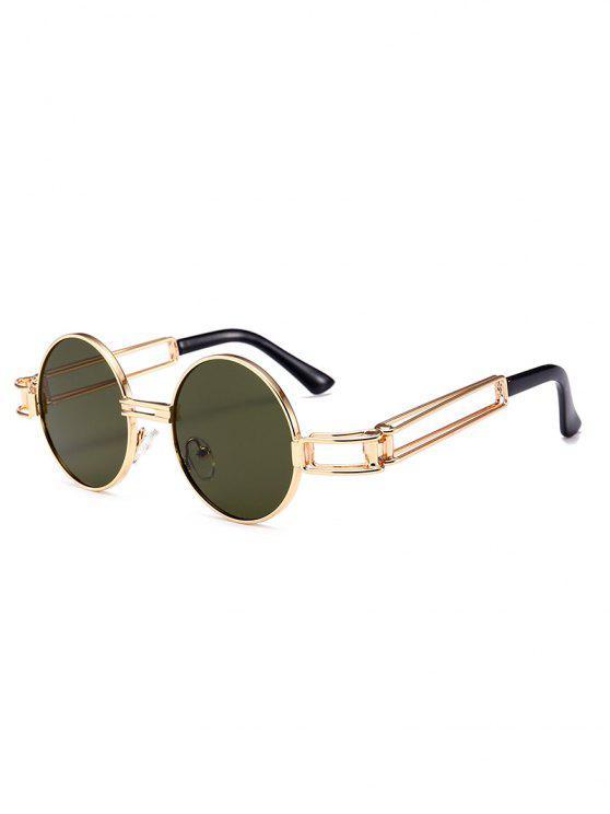 Occhiali da sole rotondi con decorazione Full Frame in metallo Hollow Out - Verde Nerastro