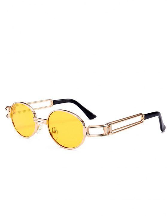 lady Hollow Out Decorated Metal Full Frame Oval Sunglasses - YELLOW