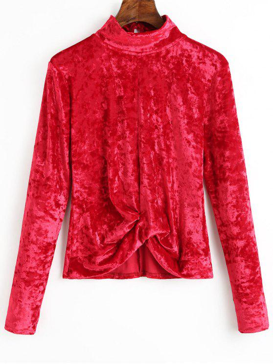 women's High Neck Gathered Velvet Blouse - DEEP RED M