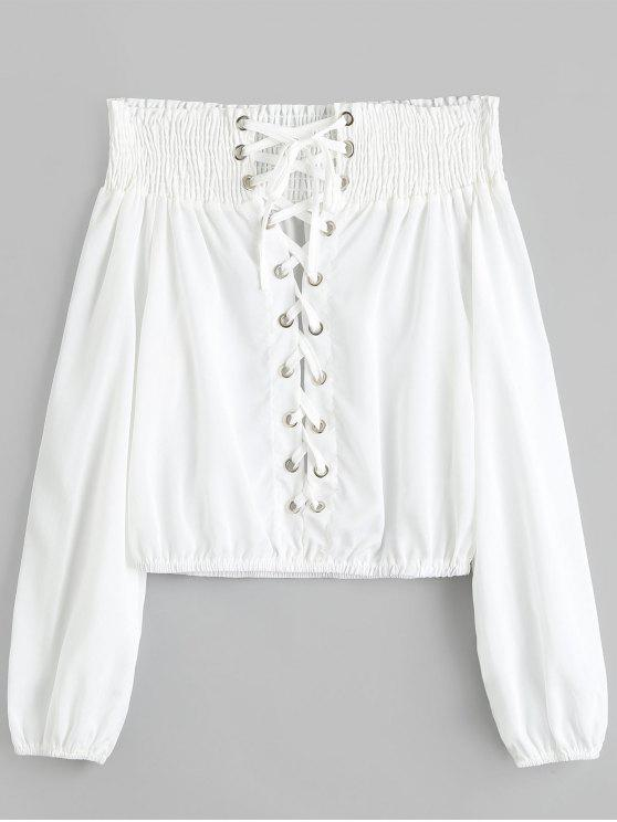 trendy Off Shoulder Smocked Lace Up Blouse - WHITE XL