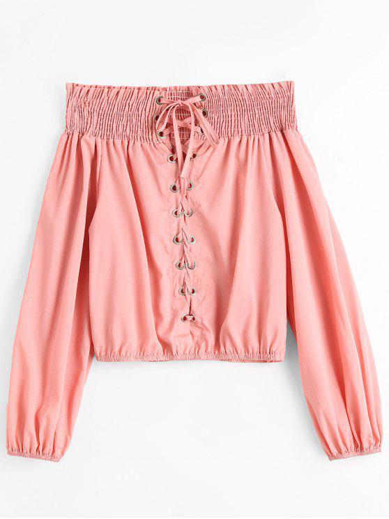 Blusa Blusa com dobra de ombro - Rosa S