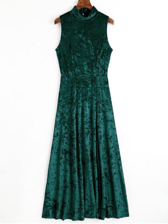 Maxi vestito di velluto a fessura aperta - Verde Nerastro S