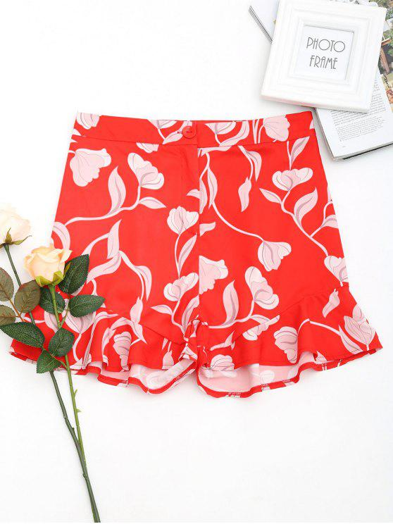 fashion Floral Print Ruffle Hem Shorts - RED M