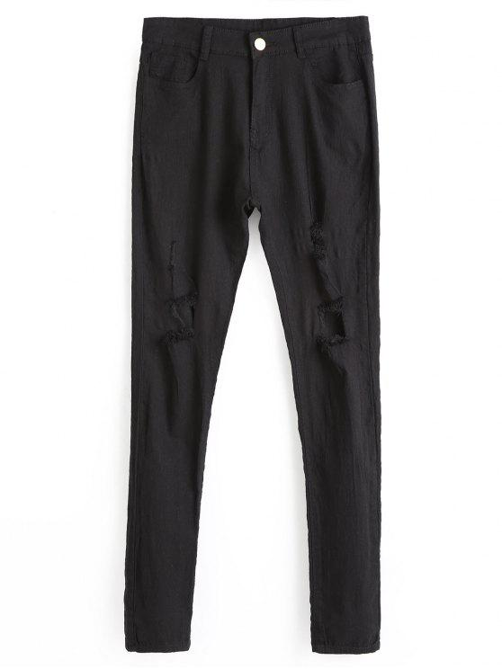 جينز ذو فتحات ممزق - أسود M