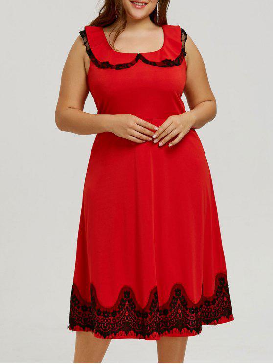 زائد حجم الدانتيل تريم اللباس خمر - أحمر 5XL
