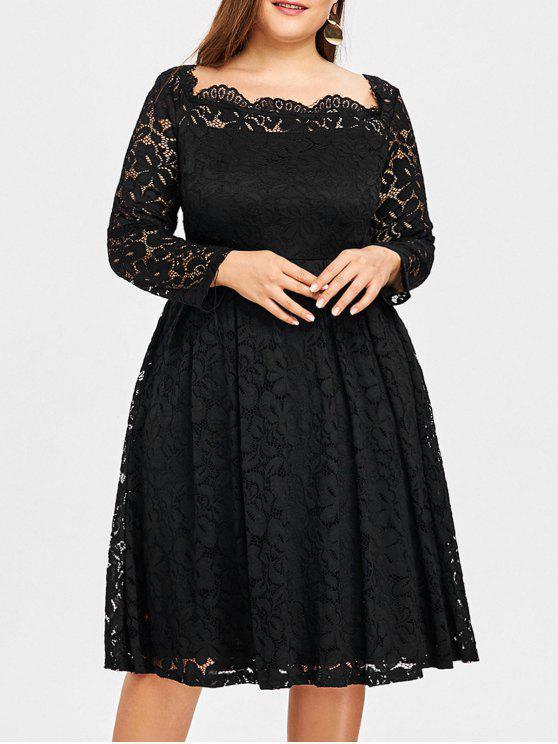Plus Size Square Neck Lace Formal Dress