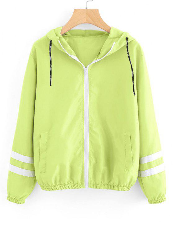 fashion Zip Up Contrast Ribbons Trim Jacket - NEON GREEN L