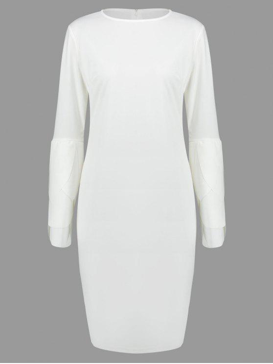 womens Round Collar Petal Sleeve Fitted Dress - WHITE L