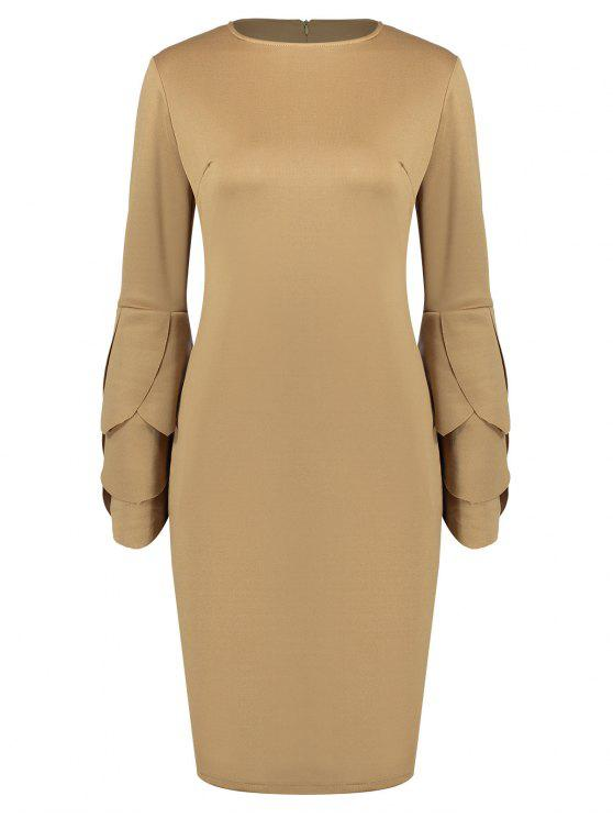 women Round Collar Petal Sleeve Fitted Dress - CAMEL L