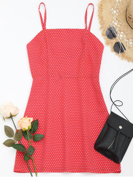 unique Polka Dot Cami Summer Dress - RED S
