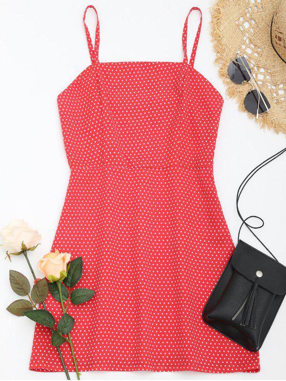 Vestido de verão Polka Dot Cami - Vermelho XL