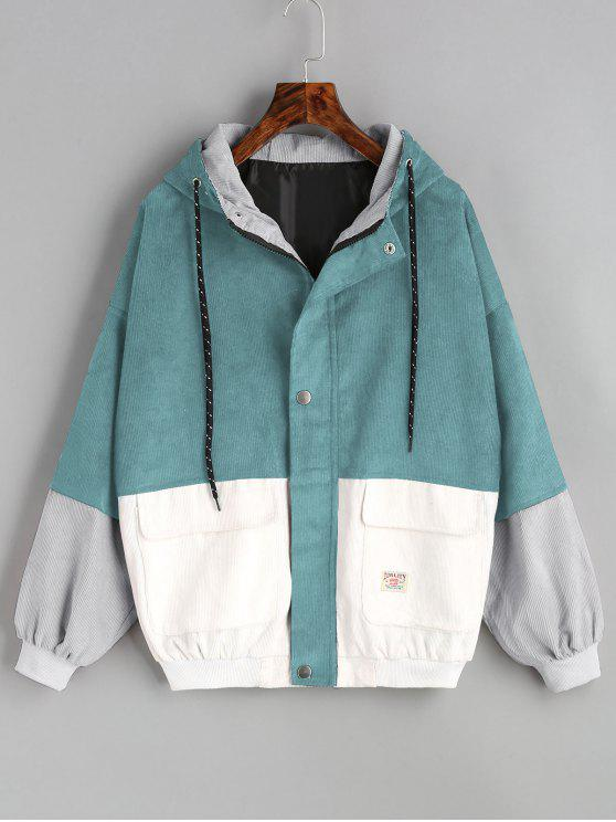 fashion Hooded Color Block Corduroy Jacket - BLUE GREEN XL