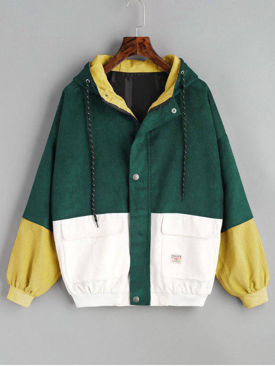 latest Hooded Color Block Corduroy Jacket - DEEP GREEN S