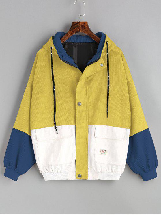 Jaqueta de Veludo com Capuz e Bloco de Cor - Amarelo S