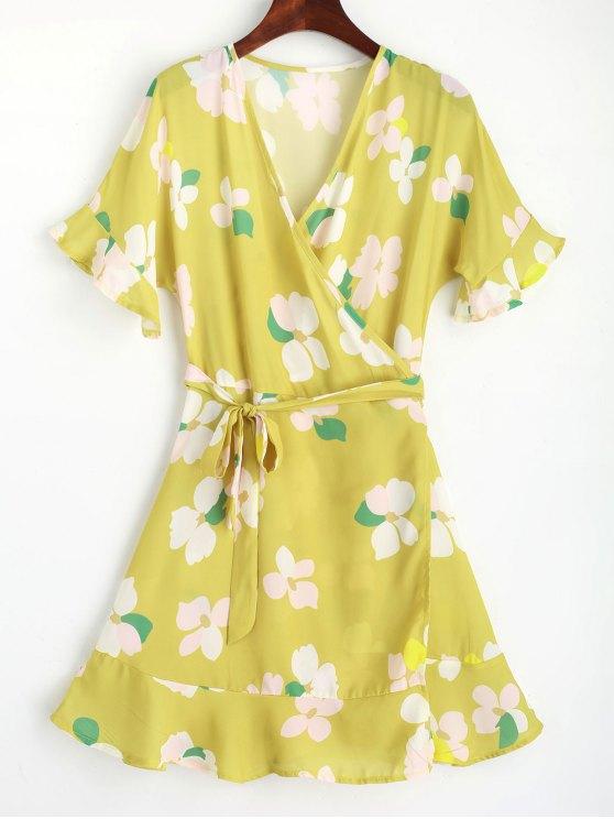 online Floral Flouncy Sleeve Wrap Mini Dress - YELLOW L