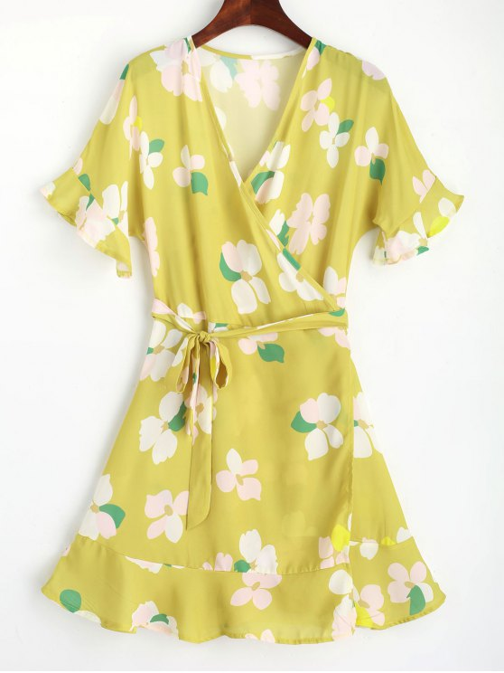 hot Floral Flouncy Sleeve Wrap Mini Dress - YELLOW XL