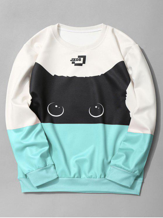 unique Cat Graphic Color Block Sweatshirt - AZURE M