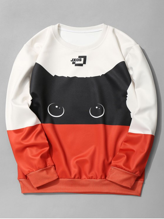 outfit Cat Graphic Color Block Sweatshirt - JACINTH L
