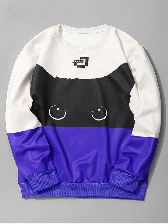 lady Cat Graphic Color Block Sweatshirt - ROYAL M